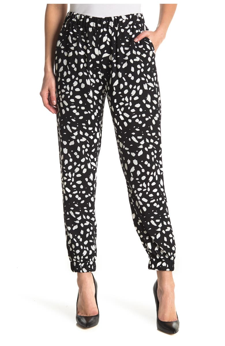 14TH AND UNION Jogger Pants, Main, color, BLACK- IVORY DOT MARKS