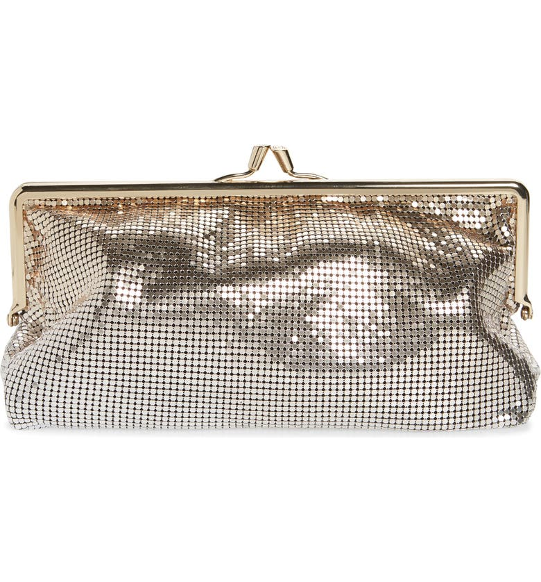 PACO RABANNE Pixel Mesh Clutch, Main, color, LIGHT GOLD / SILVER
