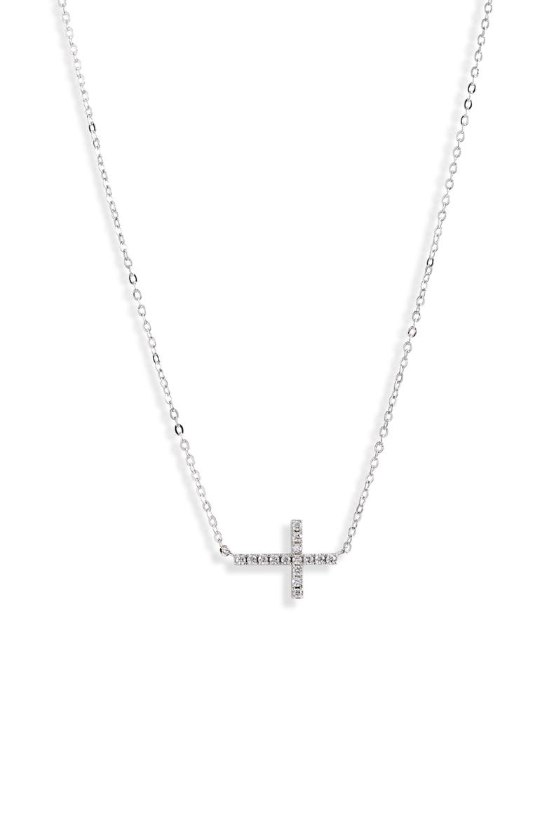 NORDSTROM Cubic Zirconia Horizontal Cross Necklace, Main, color, CLEAR- SILVER