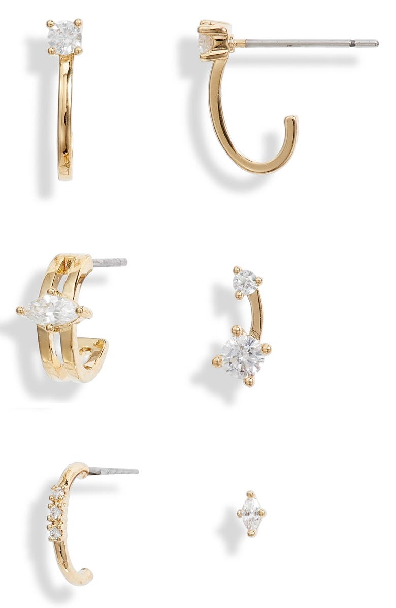 NORDSTROM Set of 6 Ear Party Earrings, Main, color, CLEAR- GOLD