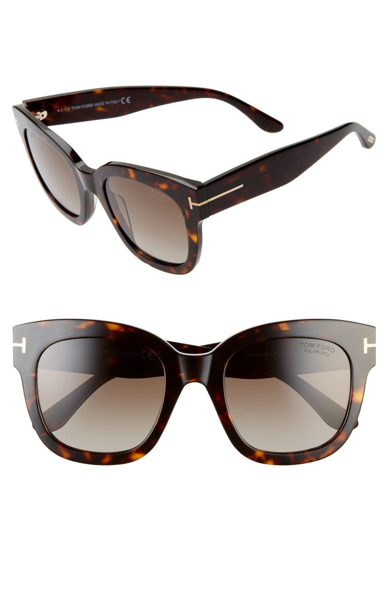 TOM FORD Beatrix 52mm Polarized Gradient Square Sunglasses, Main, color, DARK HAVANA/ BROWN