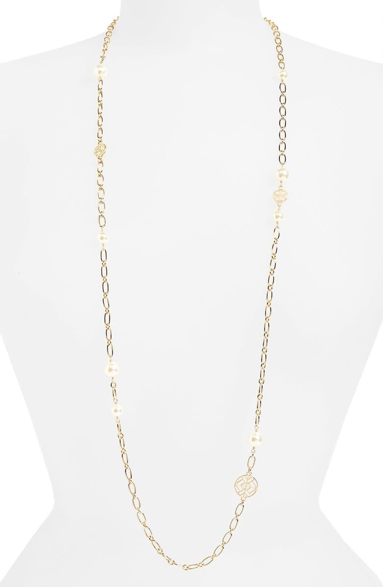 TORY BURCH Rosary Long Imitation Pearl Link Necklace, Main, color, 710
