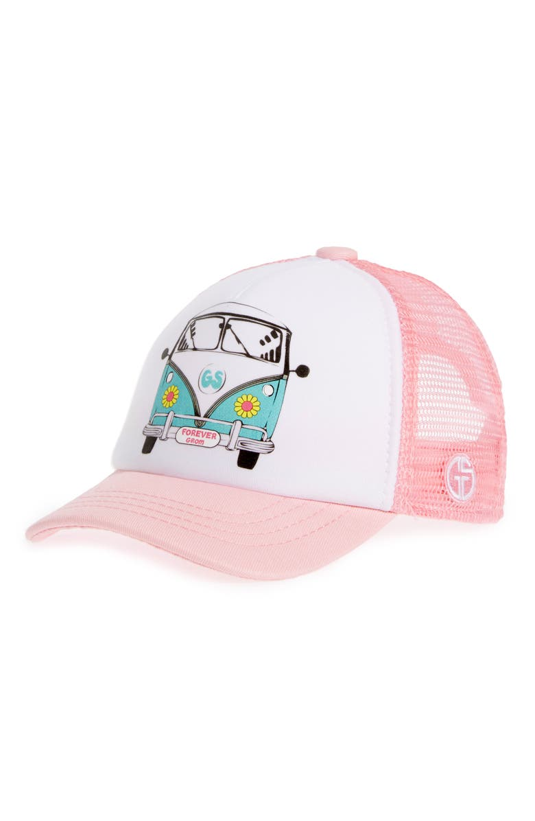 GROM SQUAD Trucker Hat, Main, color, BUSIN DAISY