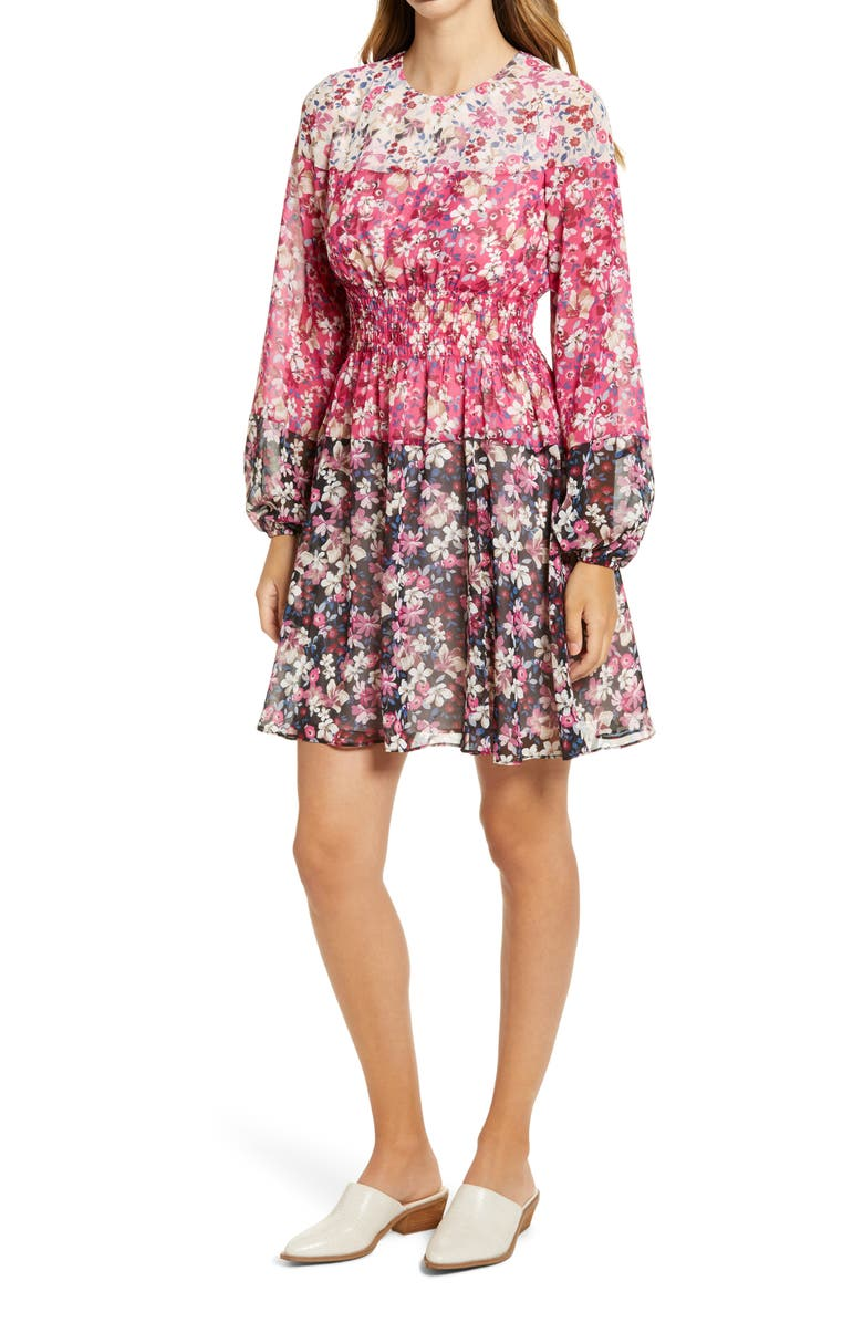 ELIZA J Colorblock Floral Smocked Waist Long Sleeve Dress, Main, color, PINK