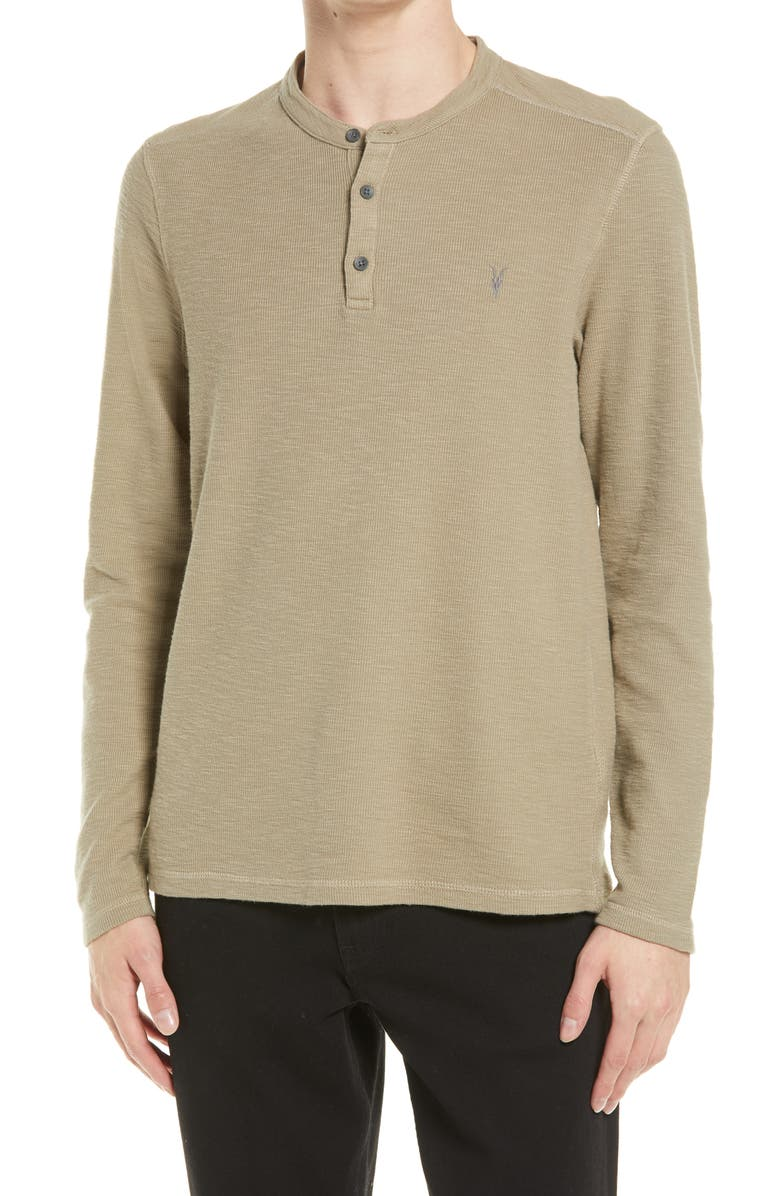 ALLSAINTS Muse Long Sleeve Henley T-Shirt, Main, color, WILLOW GREEN MARL