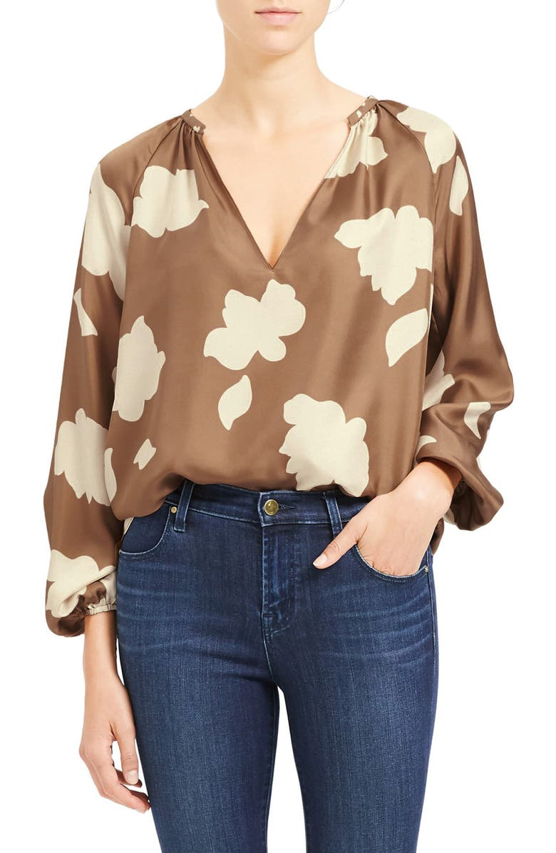 THEORY Floral Print Silk Top, Main, color, 297