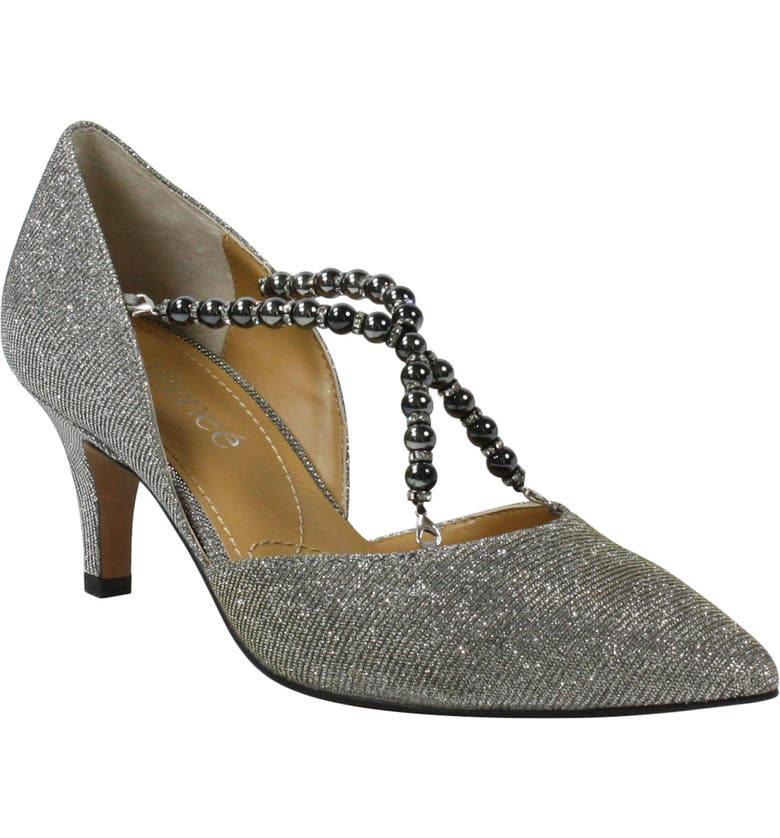 J. RENEÉ Zayna Convertible Pointed Toe Pump, Main, color, PEWTER GLITTER