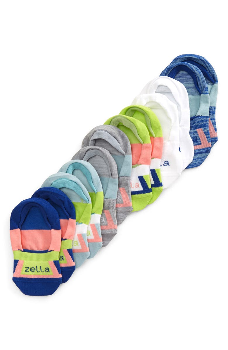 ZELLA GIRL 6-Pack No-Show Socks, Main, color, BLUE SURF MULTI