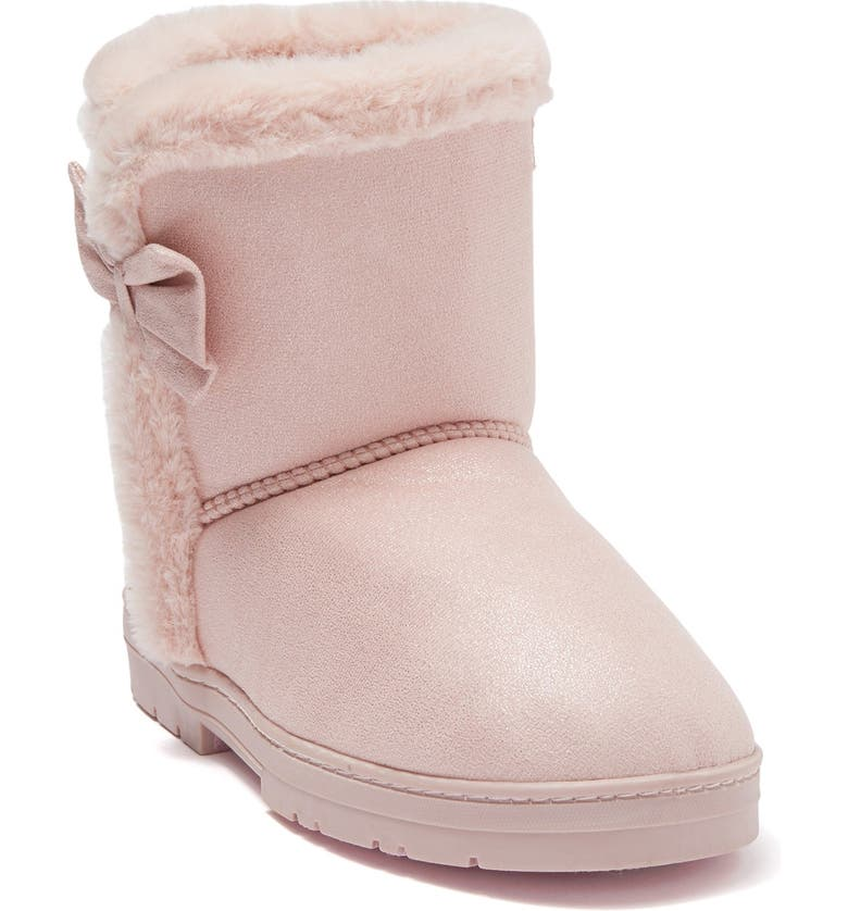 BEBE Faux Fur Lined Shimmer Microsuede Boot, Main, color, BLUSH