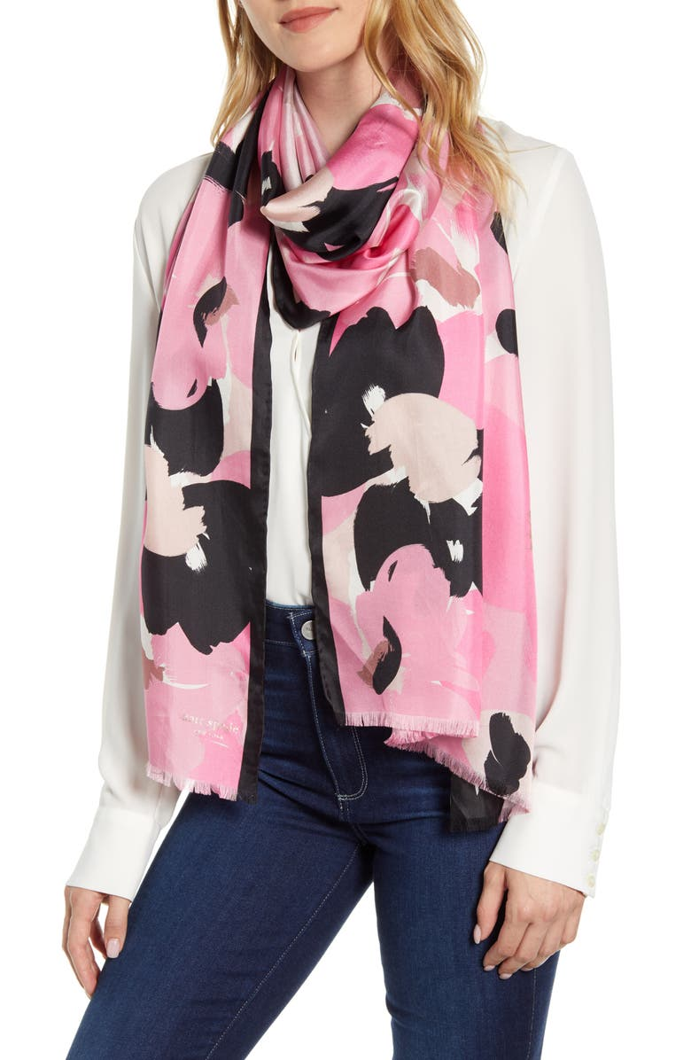 KATE SPADE NEW YORK brush bloom silk scarf, Main, color, 650