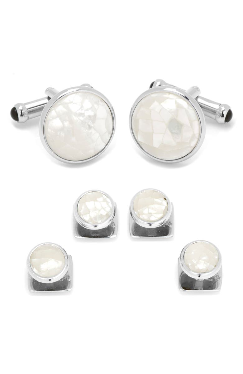 CUFFLINKS, INC. Mother-of-Pearl Cuff Link & Shirt Stud Set, Main, color, SILVER/ WHITE