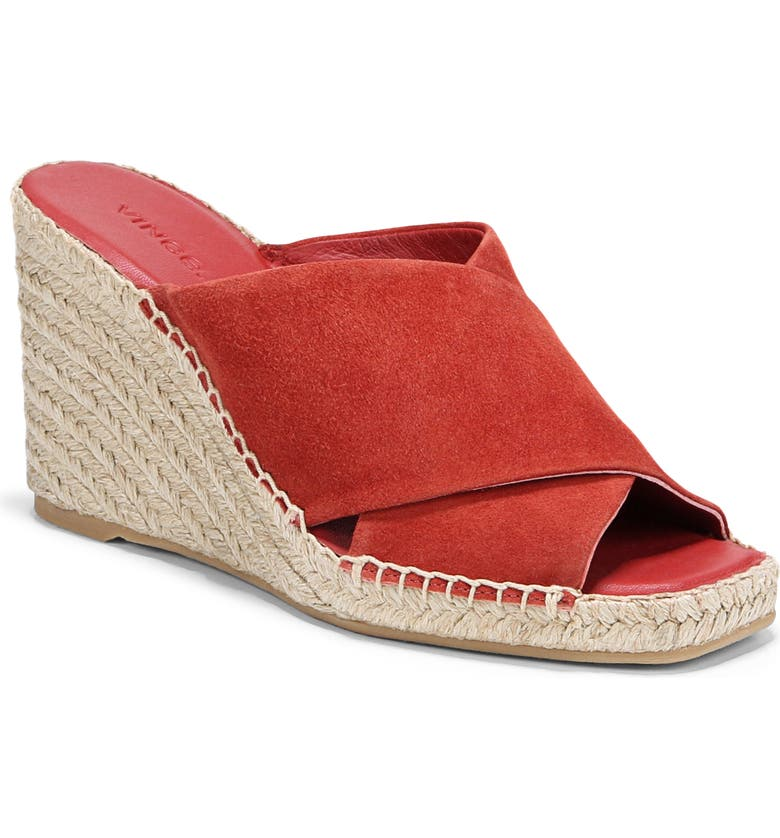 VINCE Gaelan Wedge Espadrille Sandal, Main, color, RED CLAY