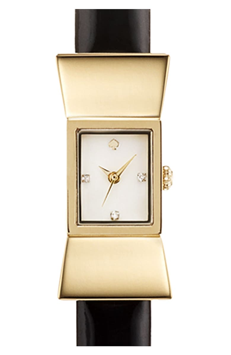 KATE SPADE NEW YORK square leather strap watch, 18mm x 39mm, Main, color, 001