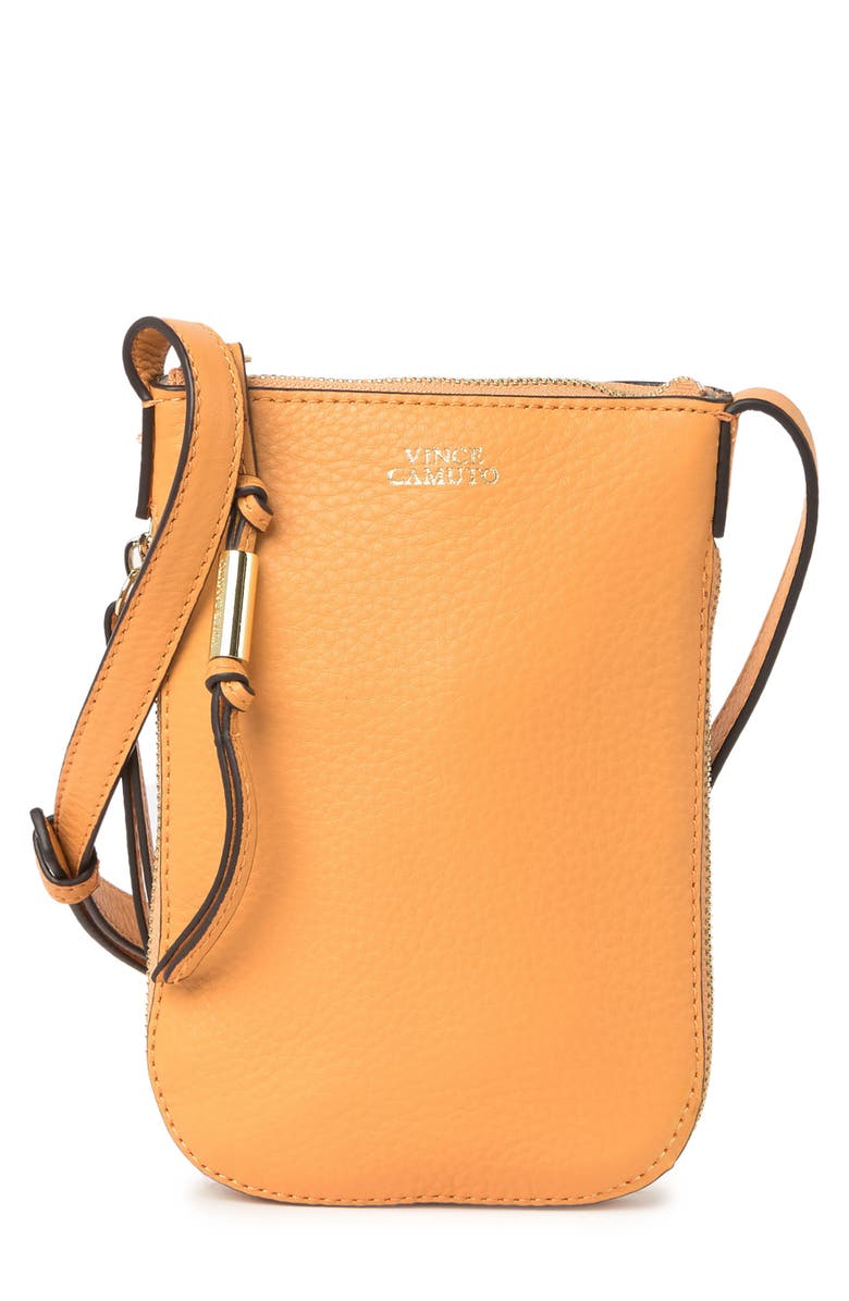 VINCE CAMUTO Kenzy Leather Phone Crossbody Bag, Main, color, DESERT