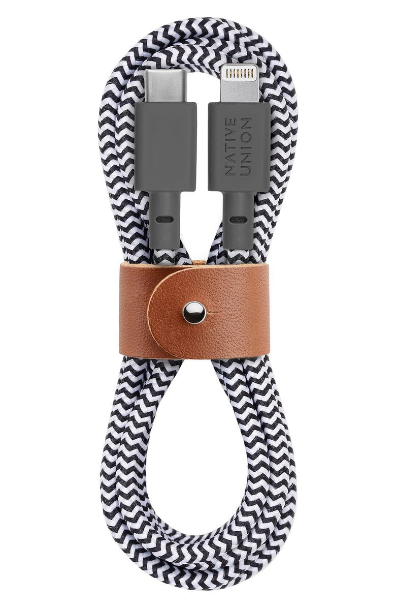 NATIVE UNION BELT Lightning to USB-C Charging Cable, Main, color, ZEBRA