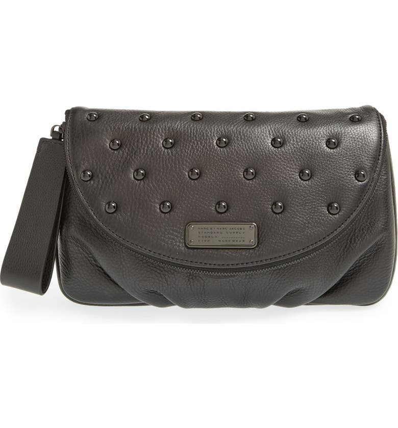 MARC JACOBS MARC BY MARC JACOBS 'New Q' Studded Leather Clutch, Main, color, 001