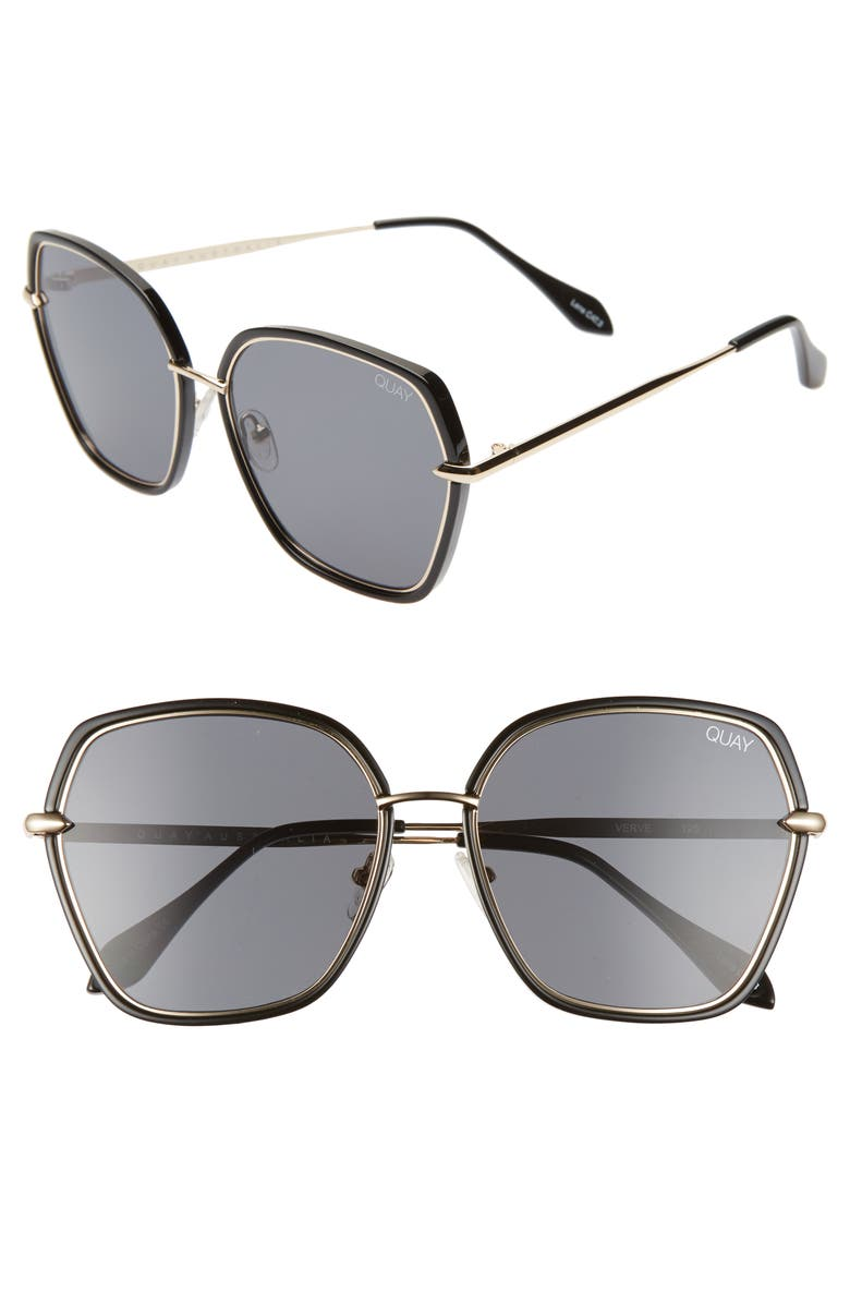 QUAY AUSTRALIA Verve 64mm Oversize Sunglasses, Main, color, 001