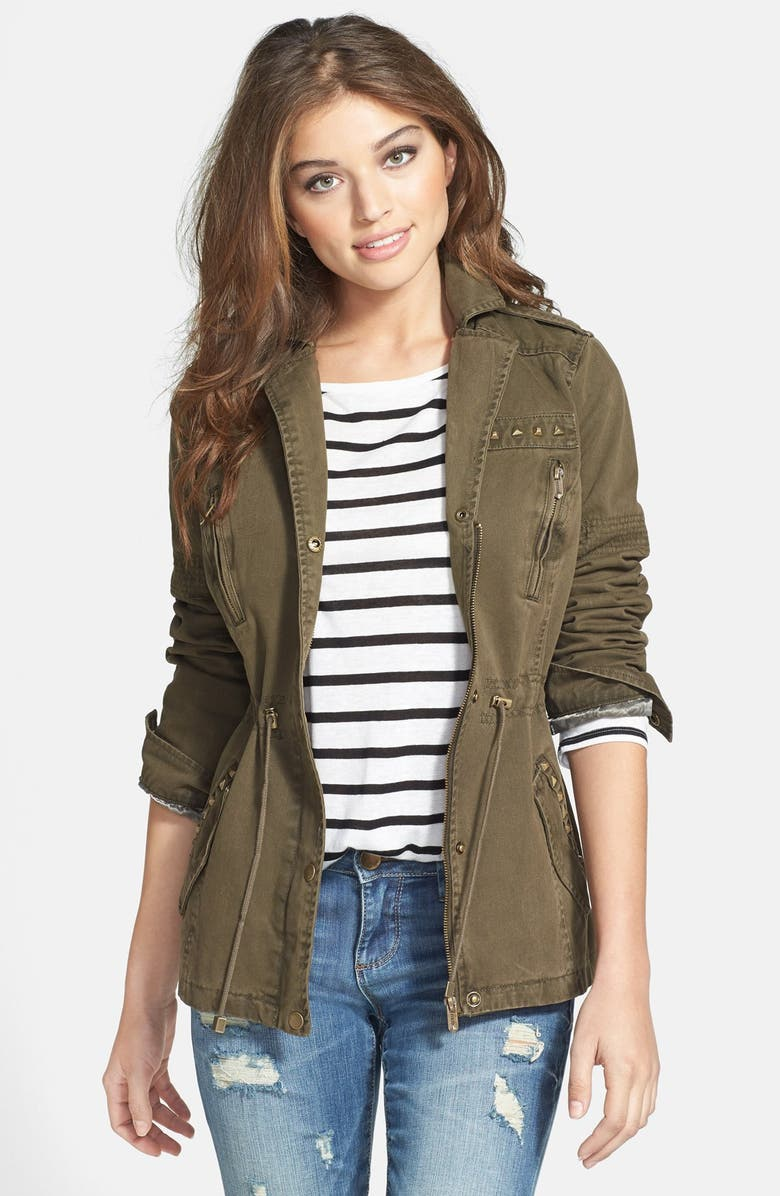 GUESS Studded Army Anorak, Main, color, OLIVE