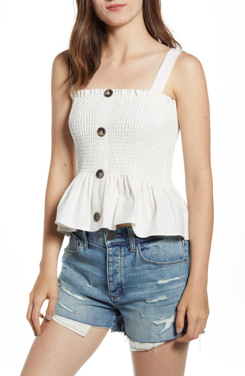 SOCIALITE Button Front Smocked Tank, Main, color, 900