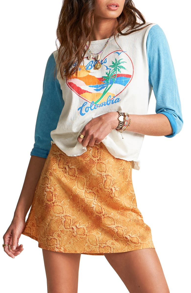 BILLABONG x Sincerely Jules Scenic Pastime Cotton Varsity Graphic Tee, Main, color, 432