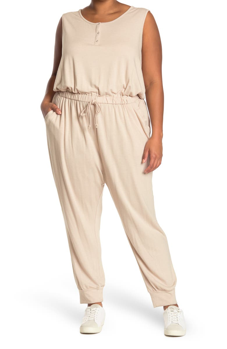 COMO VINTAGE French Terry Sleeveless Snap Jumpsuit, Main, color, OATMEAL HEATHER