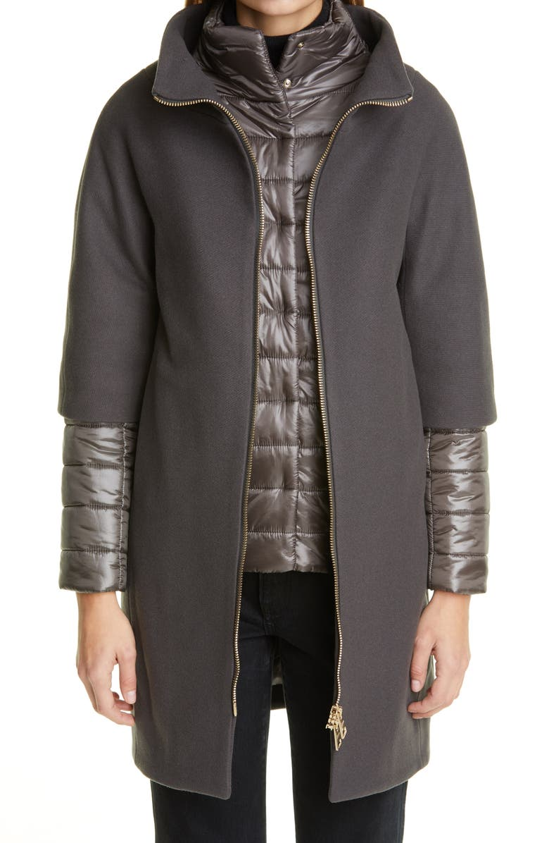 HERNO Wool Blend Cocoon Coat with Removable Sleeves & Bib, Main, color, CHARCOAL