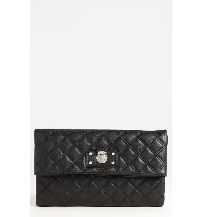 MARC JACOBS 'Large Eugenie' Quilted Leather Clutch, Main, color, 001