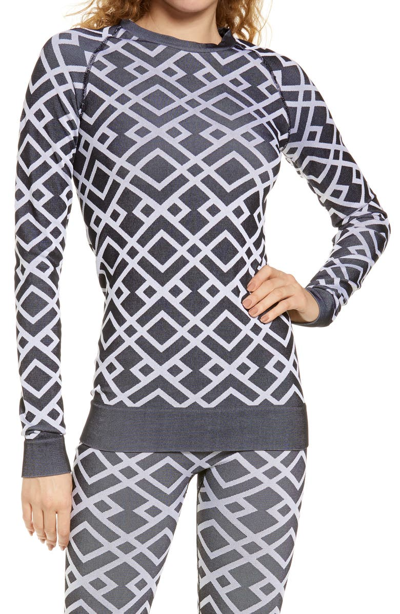 SWEATY BETTY Ski Base Layer Top, Main, color, BLACK GEO JACQUARD
