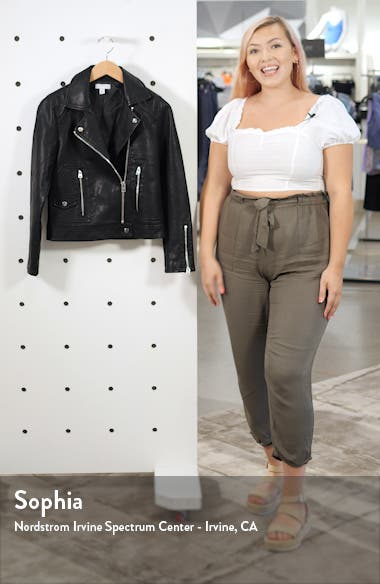 Teddy Faux Leather Biker Jacket, sales video thumbnail