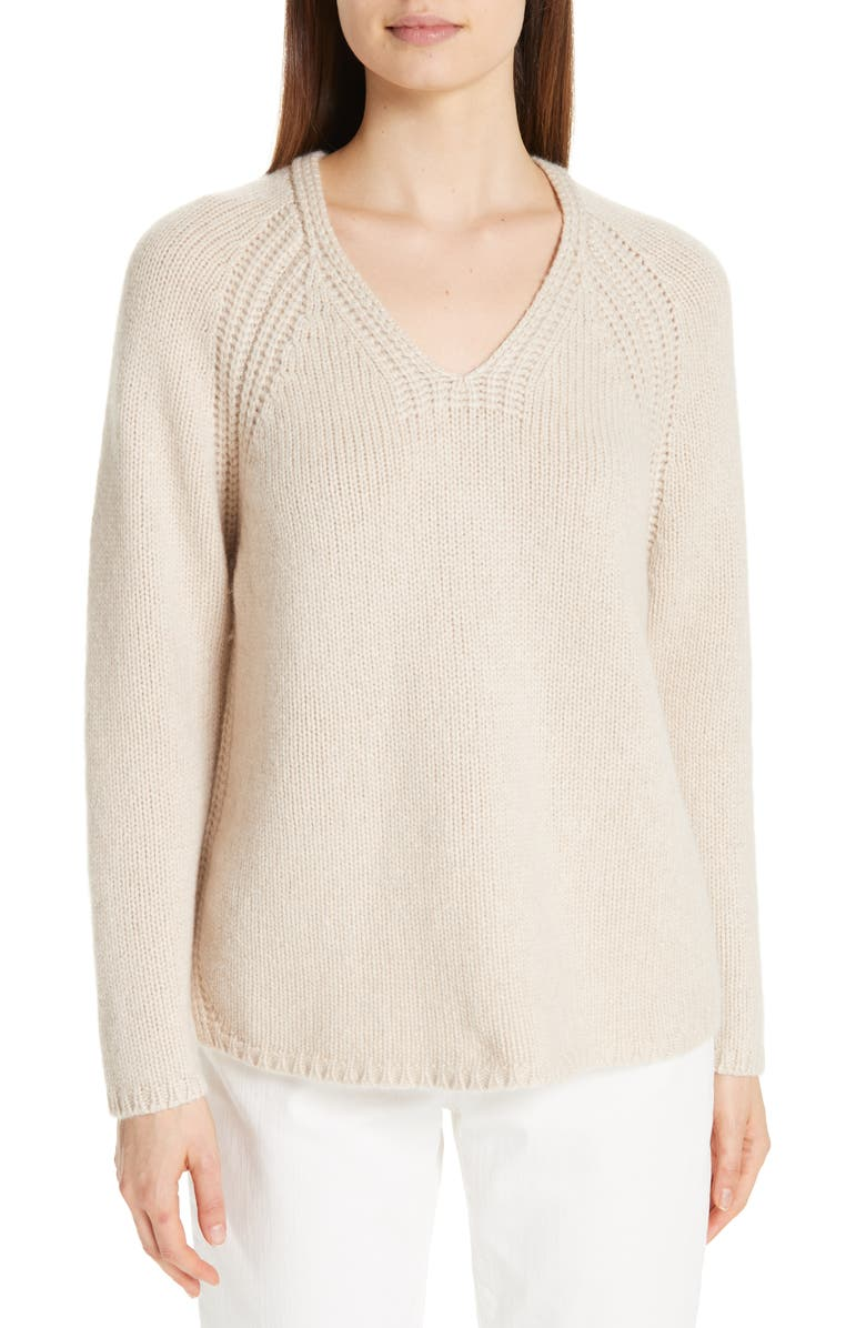 EILEEN FISHER V-Neck Cashmere Sweater, Main, color, 264
