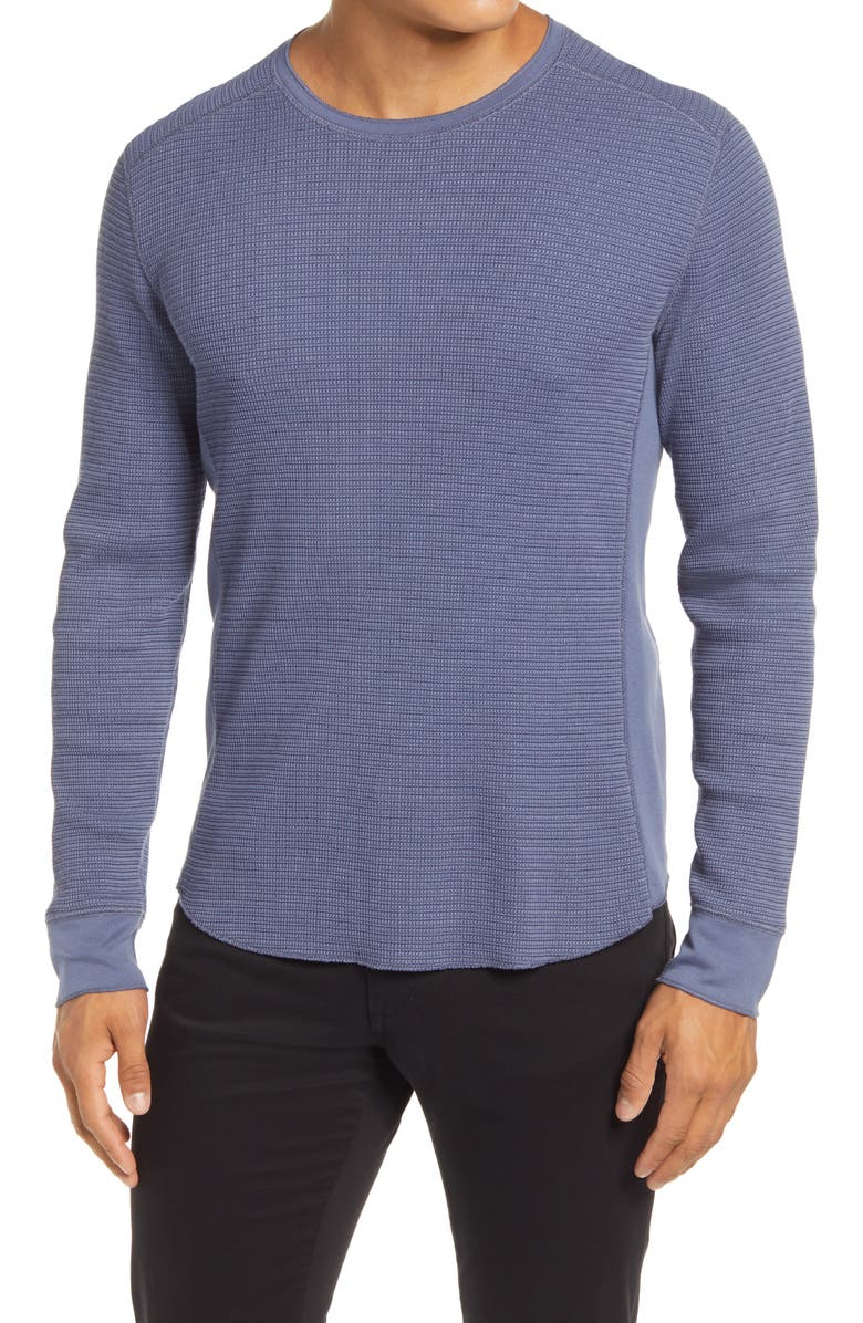 VINCE Slim Fit Long Sleeve Thermal Top, Main, color, NIGHT SHADOW BLUE