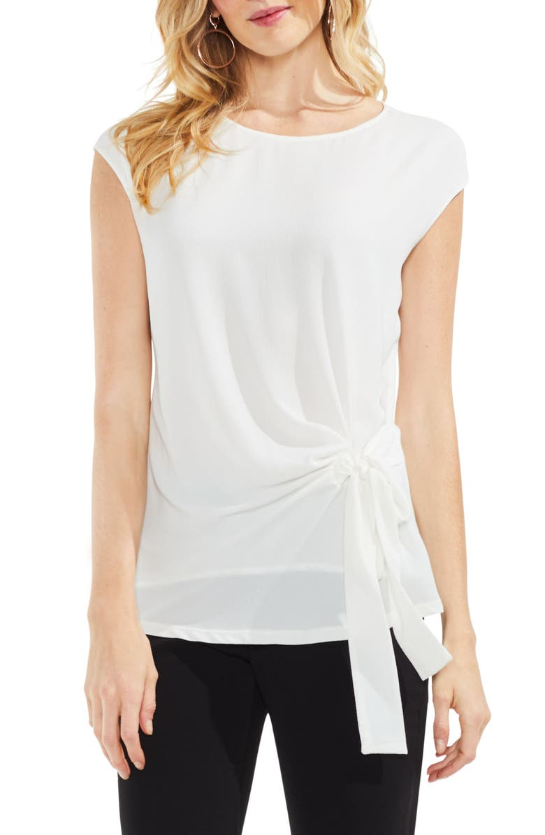 VINCE CAMUTO Mixed Media Tie Front Blouse, Main, color, 103