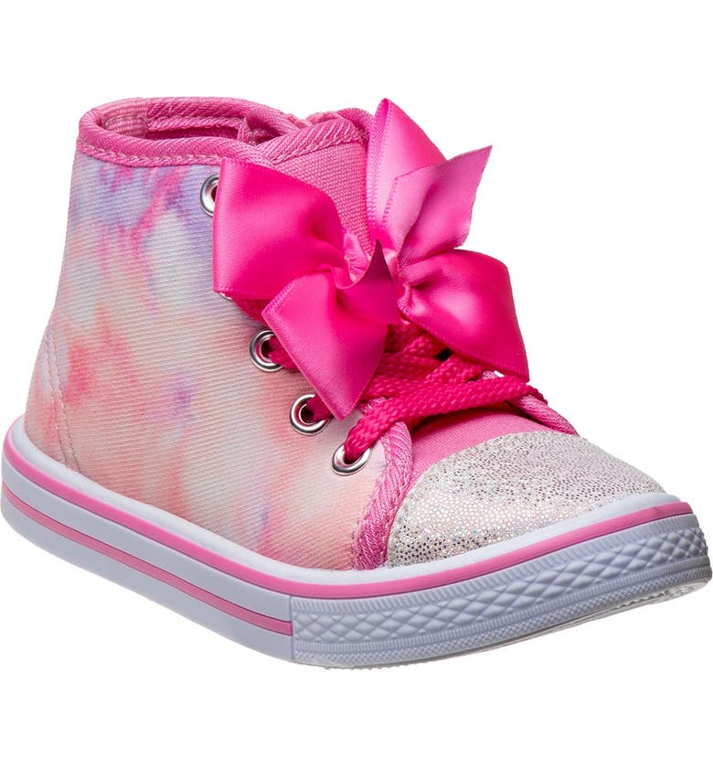 JOSMO Tie Dye Bow High Top Sneaker, Main, color, PINK