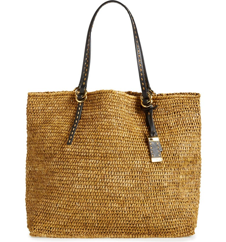 MICHAEL KORS 'Large Santorini' Raffia Tote, Main, color, 001