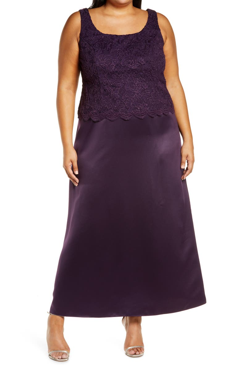 ALEX EVENINGS Embroidered Lace Mock Two-Piece Gown with Jacket, Main, color, EGGPLANT