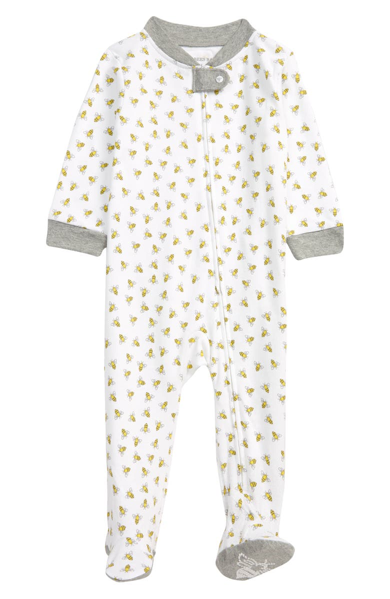 BURT'S BEES BABY Honey Bee Organic Cotton Fitted One-Piece Pajamas, Main, color, HEATHER GREY