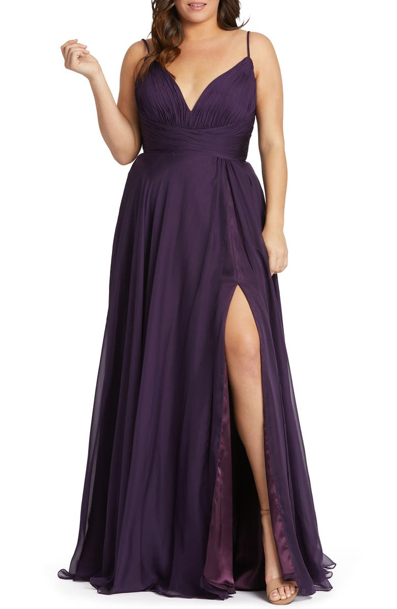 MAC DUGGAL Ruched Satin Gown, Main, color, AUBERGINE