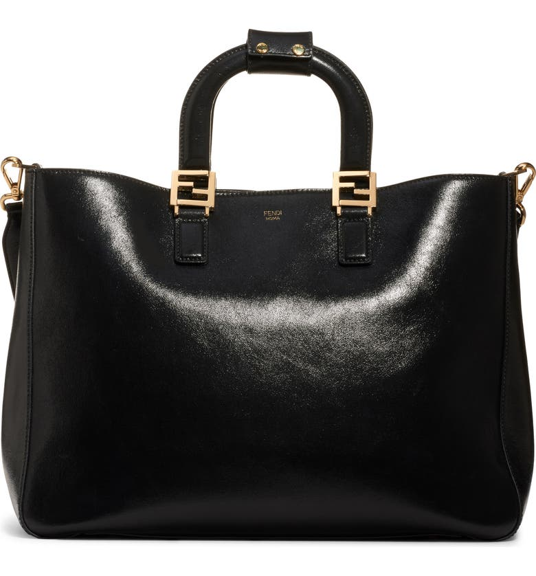 FENDI Medium FF Top Handle Leather Tote, Main, color, BLACK/ SOFT GOLD