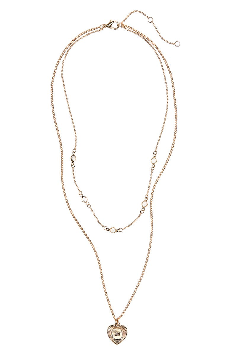 BP. Layered Crystal Heart Necklace, Main, color, GOLD/ CRYSTAL