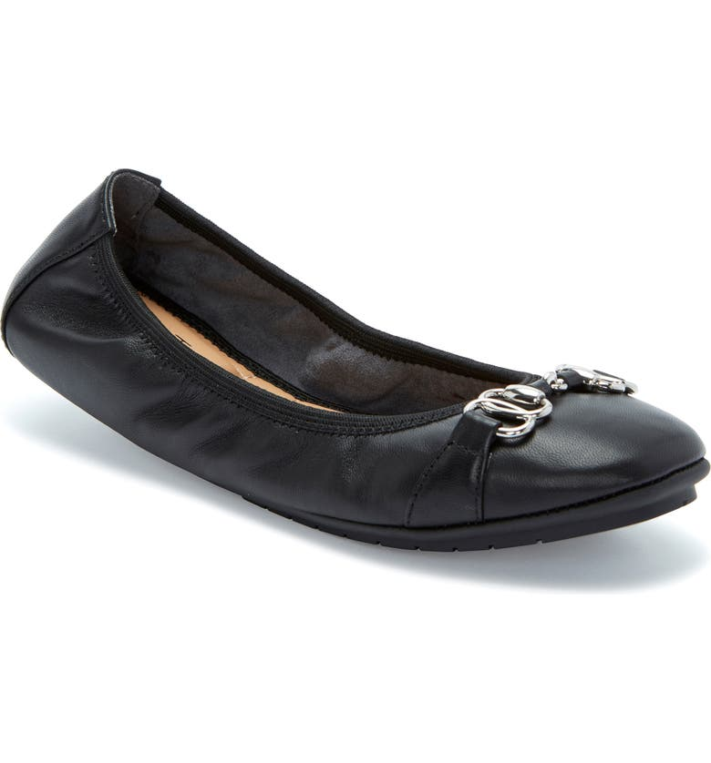ME TOO Olympia Skimmer Flat, Main, color, BLACK LEATHER/ BLACK