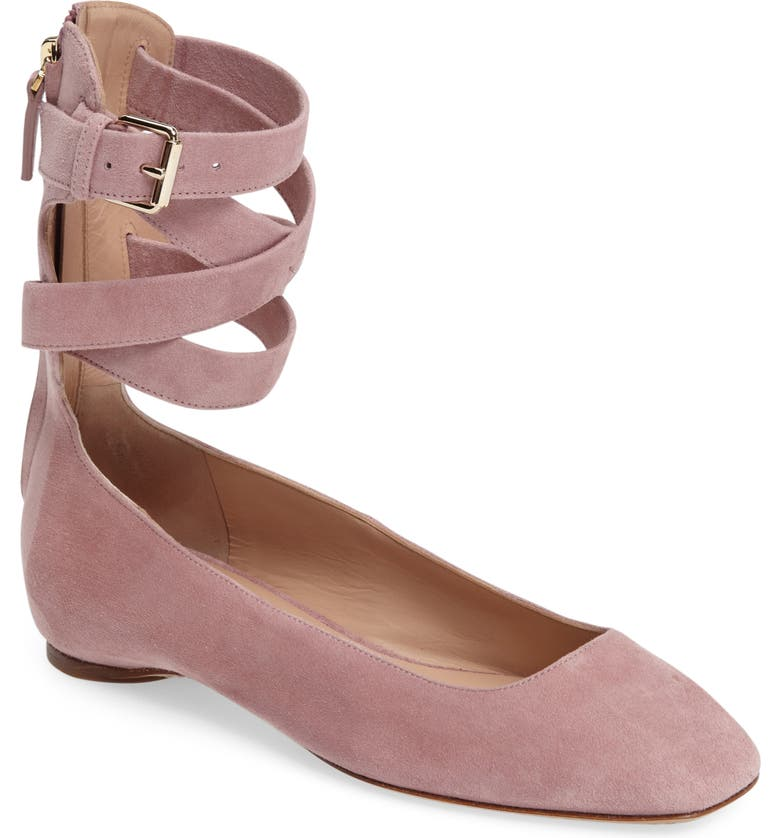 VALENTINO Ankle Wrap Ballet Flat, Main, color, ROSE SUEDE