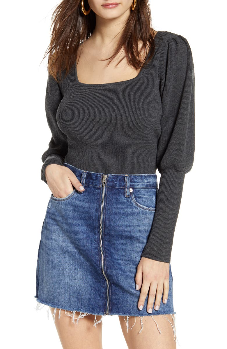ASTR THE LABEL Long Sleeve Square Neck Sweater, Main, color, CHARCOAL