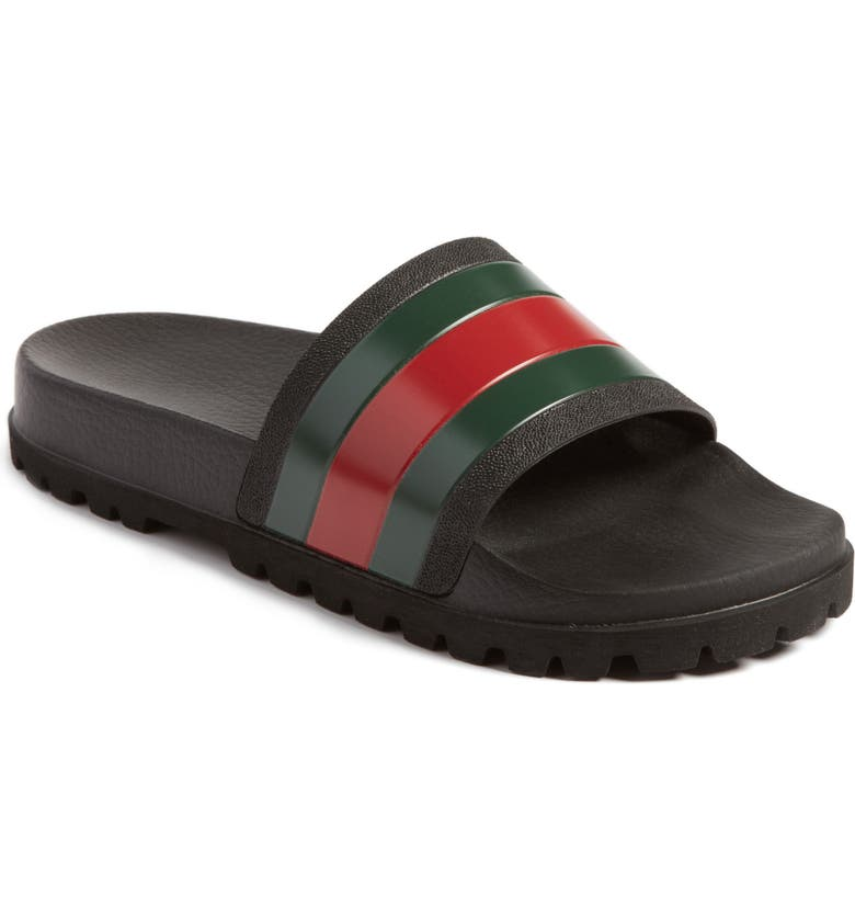 GUCCI Slide Sandal, Main, color, NERO/NERO