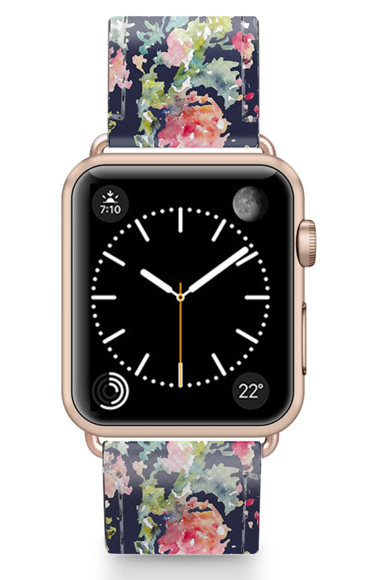 CASETIFY Keepsake Saffiano Faux Leather Apple Watch<sup>®</sup> Strap, Main, color, BLUE/ ROSE GOLD
