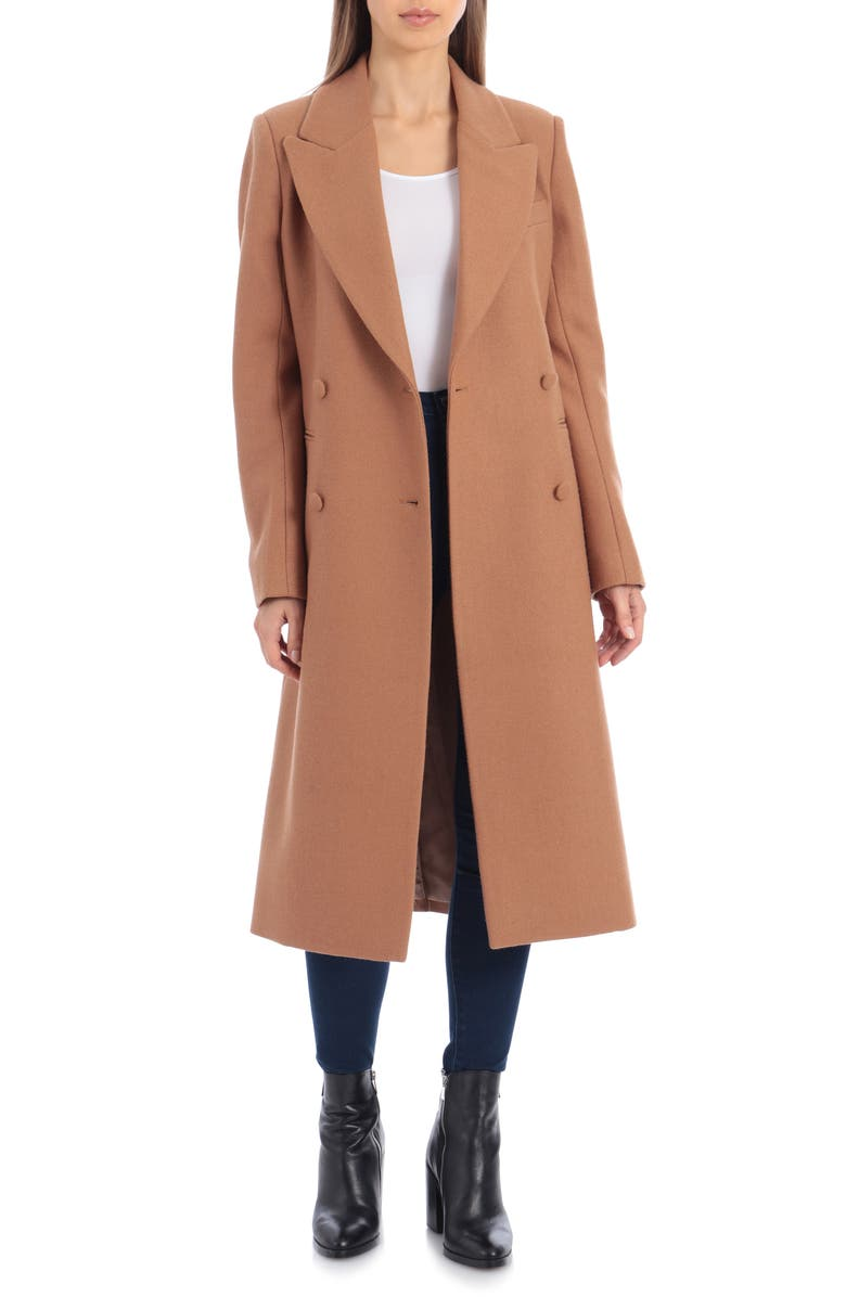 AVEC LES FILLES Double Breasted Wool Blend Coat, Main, color, 255