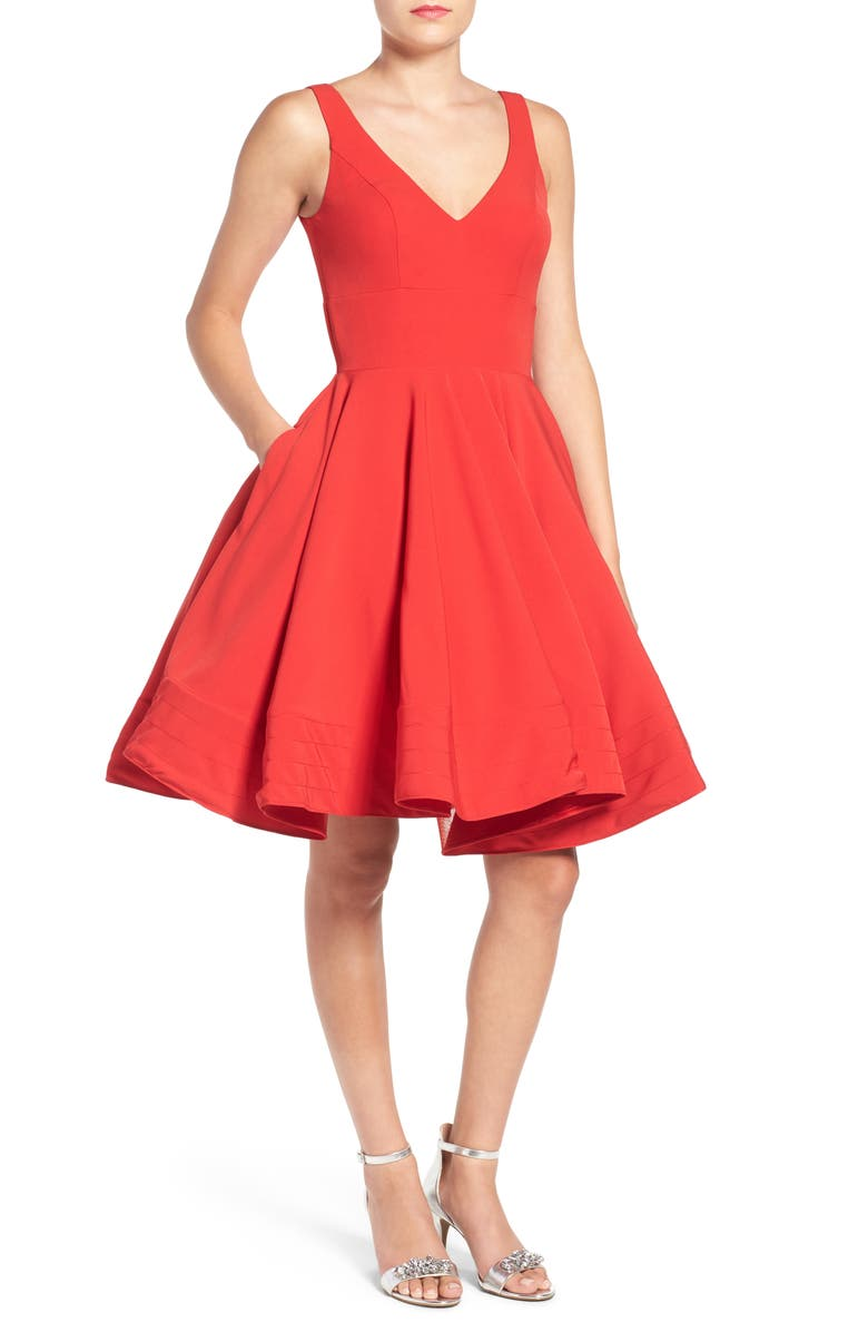 MAC DUGGAL Fit & Flare Cocktail Dress, Main, color, RED