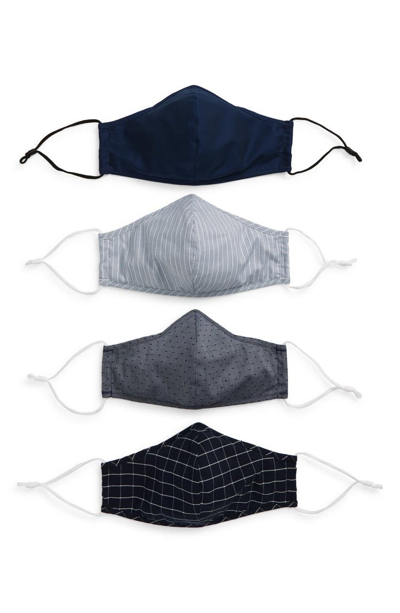NORDSTROM Assorted 4-Pack Adult Face Masks, Main, color, NAVY COMBO