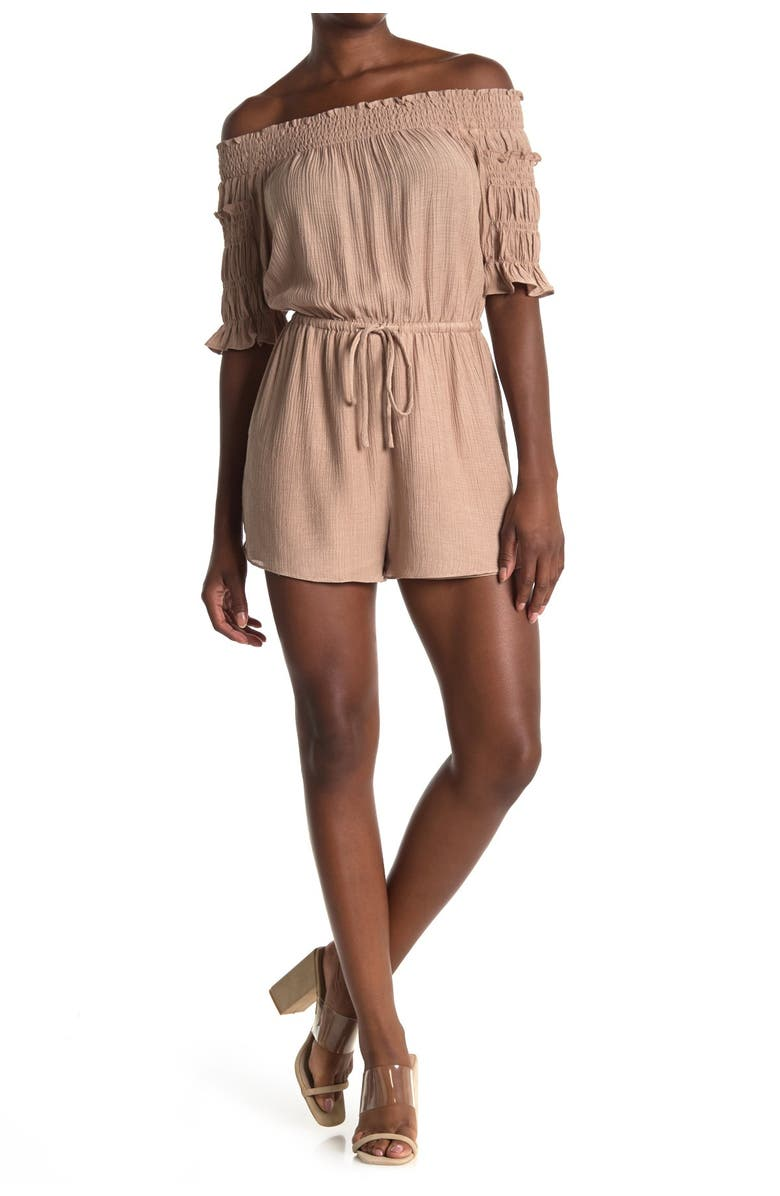 ALL IN FAVOR Off-the-Shoulder Tie Waist Romper, Main, color, TAUPE