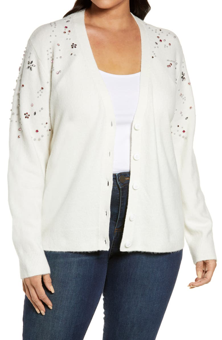 HALOGEN<SUP>®</SUP> Embellished Cardigan Sweater, Main, color, IVORY CLOUD