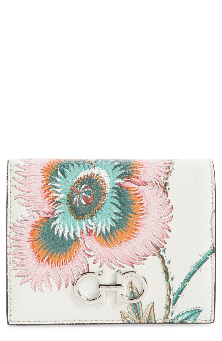 SALVATORE FERRAGAMO Double Gancino Papavero Floral Print Leather French Wallet, Main, color, 100